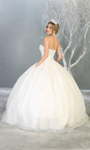 Mayqueen LK138 ivory white quinceanera metallic shiny ballgown.This strapless white ball gown is perfect for bridal gown engagement dress, wedding reception, indowestern party gown,sweet 16, debut, sweet 15, sweet 18.Plus sizes avail for ballgowns-b