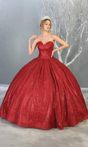 Mayqueen LK138 red quinceanera metallic shiny ballgown. This strapless red ball gown is perfect for engagement dress, wedding reception, indowestern party gown, sweet 16, debut, sweet 15, sweet 18. Plus sizes available for red ballgowns