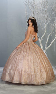 Mayqueen LK138 rose gold quinceanera metallic shiny ballgown. This strapless dusty rose ball gown is perfect for engagement dress, wedding reception, indowestern party gown, sweet 16, debut, sweet 15, sweet 18. Plus sizes available for ballgowns