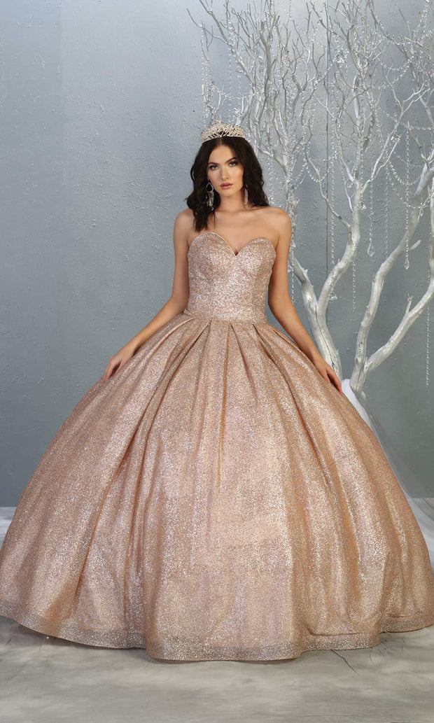 Mayqueen LK138 rose gold quinceanera metallic shiny ballgown. This strapless dusty rose ball gown is perfect for engagement dress, wedding reception, indowestern party gown, sweet 16, debut, sweet 15, sweet 18. Plus sizes available for ballgowns-b