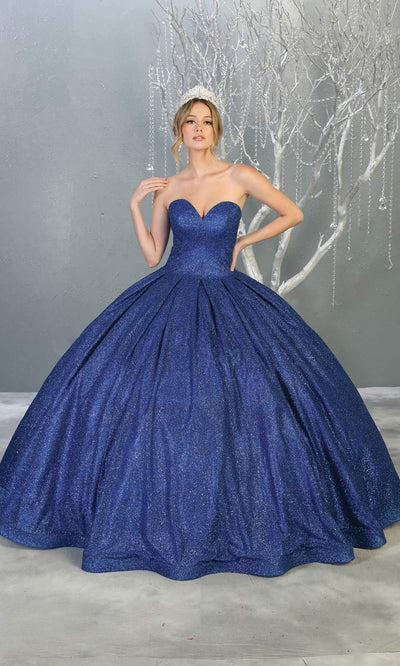 Mayqueen LK138 royal blue quinceanera metallic shiny ballgown. This strapless blue ball gown is perfect for engagement dress, wedding reception, indowestern party gown, sweet 16, debut, sweet 15, sweet 18. Plus sizes available for ballgowns