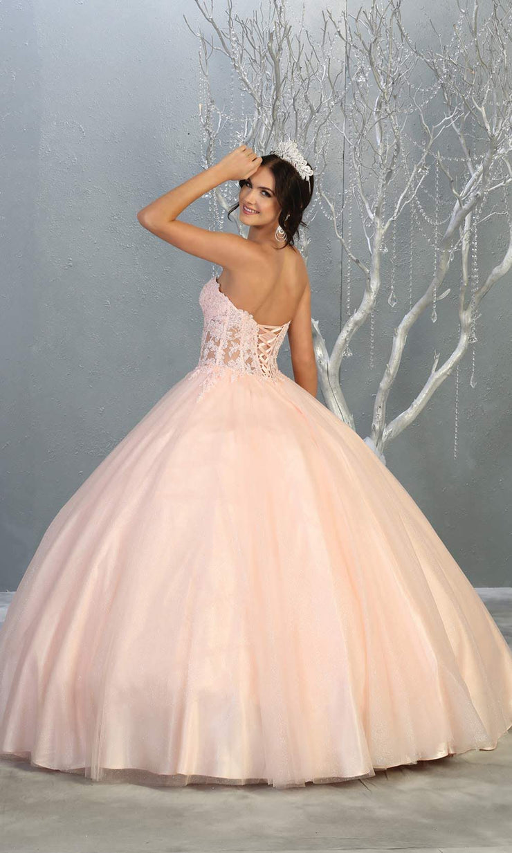 Mayqueen LK141 blush pink quinceanera strapless ball gown w/lace detail. This light pink ball gown is perfect for engagement dress, wedding reception, indowestern party gown, sweet 16, debut, sweet 15, sweet 18. Plus sizes available for ballgowns-b