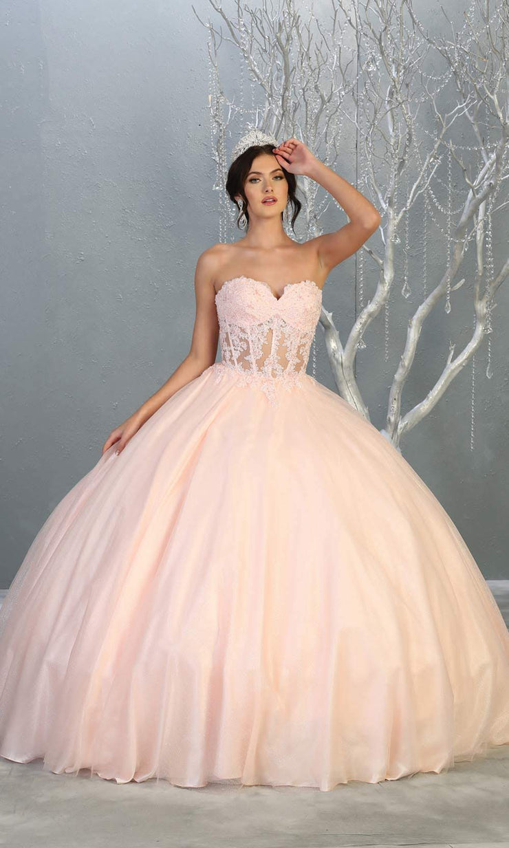 Mayqueen LK141 blush pink quinceanera strapless ball gown w/lace detail. This light pink ball gown is perfect for engagement dress, wedding reception, indowestern party gown, sweet 16, debut, sweet 15, sweet 18. Plus sizes available for ballgowns