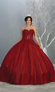 Mayqueen LK141 burgundy red quinceanera strapless ball gown w/lace detail. This dark red ball gown is perfect for engagement dress, wedding reception, indowestern party gown, sweet 16, debut, sweet 15, sweet 18. Plus sizes available for ballgowns
