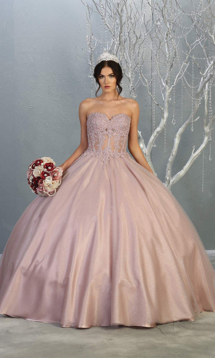 Mayqueen LK141 mauve pink quinceanera strapless ball gown w/lace detail. This light pink ball gown is perfect for engagement dress, wedding reception, indowestern party gown, sweet 16, debut, sweet 15, sweet 18. Plus sizes available for ballgowns