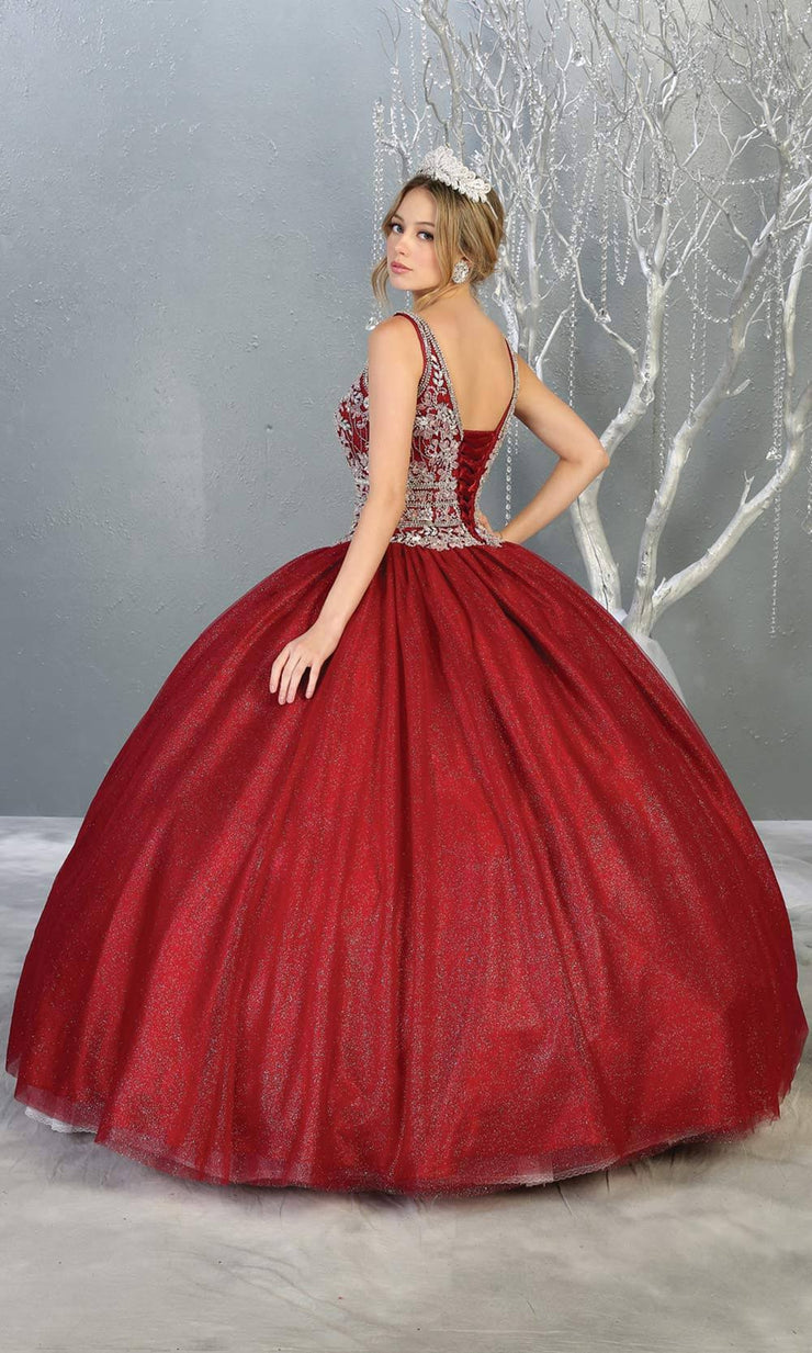 Mayqueen LK143 burgundy red quinceanera ball gown w_ wide st-b