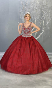Mayqueen LK143 burgundy red quinceanera ball gown w_ wide straps & beading. This dark red ball gown is perfect for engagement dress, wedding reception, ind