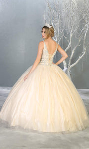 Mayqueen LK143 ivory white quinceanera ball gown w_ wide str-b