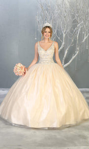 Mayqueen LK143 ivory white quinceanera ball gown w_ wide straps & beading. This ivory ball gown is perfect for bridal gown, engagement dress, wedding