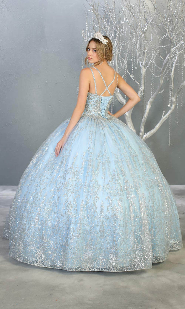 Mayqueen LK145 baby blue quinceanera ball gown w/glittery skirt & beaded top. This light blue ball gown is perfect for engagement dress, wedding reception, indowestern party gown, sweet 16, debut,sweet 15, sweet 18.Plus sizes available for ballgowns-b