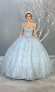 Mayqueen LK145 baby blue quinceanera ball gown w/glittery skirt & beaded top. This light blue ball gown is perfect for engagement dress, wedding reception, indowestern party gown, sweet 16, debut, sweet 15, sweet 18. Plus sizes available for ballgowns