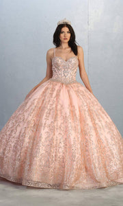 Mayqueen LK145 blush pink quinceanera ball gown w/glittery skirt & beaded top.This light pink ball gown is perfect for engagement dress, wedding reception, indowestern party gown, sweet 16, debut, sweet 15, sweet 18. Plus sizes available for ballgowns