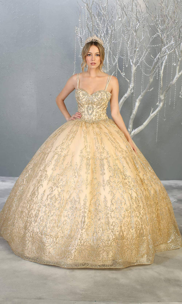 Mayqueen LK145 champagne quinceanera ball gown w/glittery skirt & beaded top. This light gold ball gown is perfect for engagement dress, wedding reception, indowestern party gown, sweet 16, debut, sweet 15, sweet 18. Plus sizes available for ballgowns
