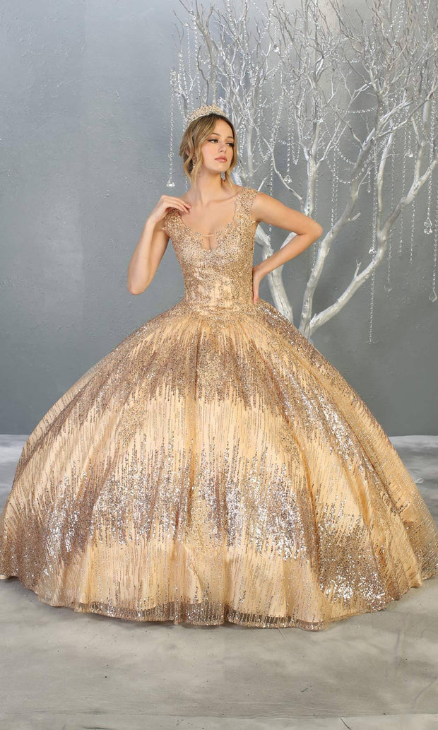 Mayqueen LK147 champagne gold quinceanera sequin ballgown. This light gold shiny ball gown is perfect for engagement dress, wedding reception, indowestern party gown, sweet 16, debut, sweet 15, sweet 18. Plus sizes available for gold ballgowns.jpg
