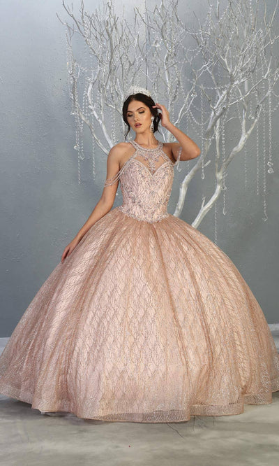 Mayqueen LK148 rose gold high neck quinceanera sequin ballgown. This light pink shiny ball gown is perfect for engagement dress, wedding reception, indowestern party gown, sweet 16, debut, sweet 15, sweet 18. Plus sizes available for pink ballgowns.jpg