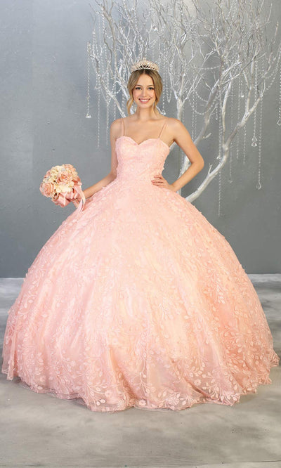 MayqueenLK150 blush pink quinceanera ball gown w/lace detail and thin straps. This light pink ball gown is perfect for engagement dress, wedding reception, indowestern party gown, sweet 16, debut, sweet 15, sweet 18. Plus sizes available for ballgowns.jpg