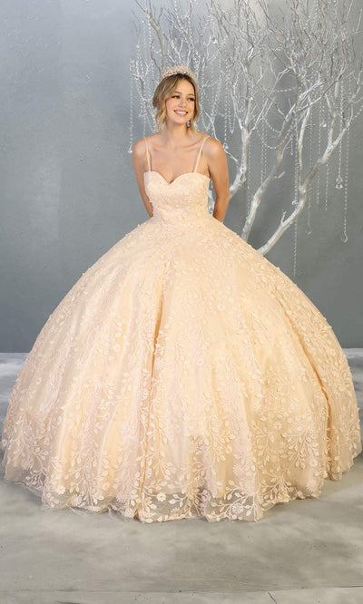 Mayqueen LK150 champagne quinceanera ball gown w/lace detail & thin straps. This light gold ball gown is perfect for engagement dress, wedding reception, indowestern party gown, sweet 16, debut, sweet 15, sweet 18. Plus sizes available for ballgowns.jpg