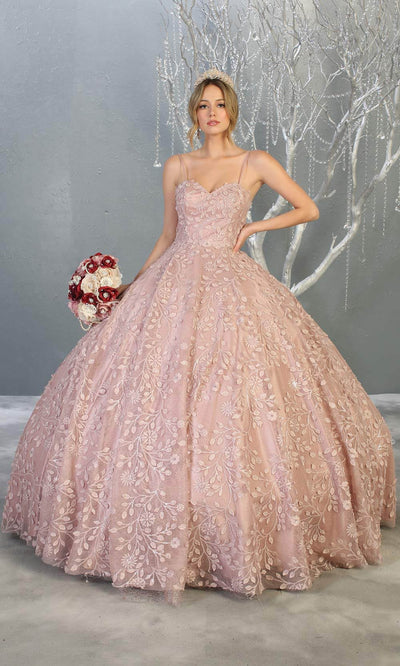 Mayqueen LK150 mauve pink quinceanera ball gown w/lace detail & thin straps. This dusty rose ball gown is perfect for engagement dress, wedding reception, indowestern party gown, sweet 16, debut, sweet 15, sweet 18. Plus sizes available for ballgowns.jpg