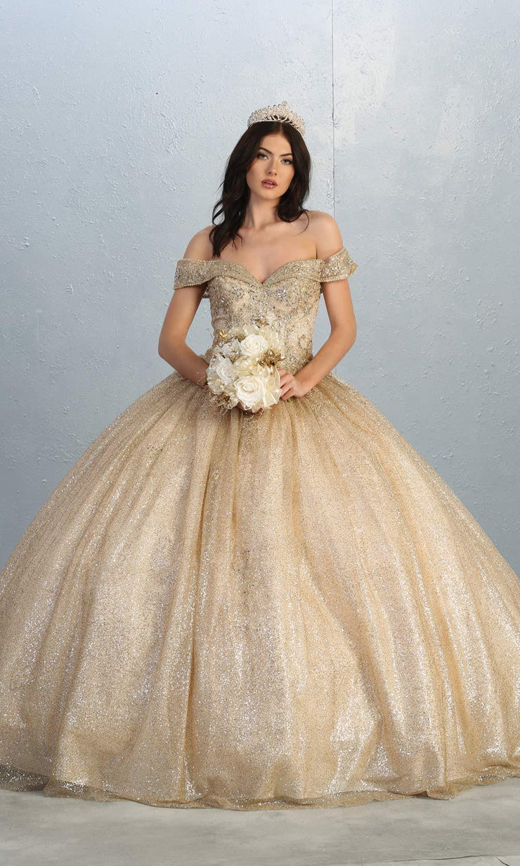 Mayqueen LK151 champagne quinceanera off shoulder sequin ballgown. This light gold shiny ball gown is perfect for engagement dress, wedding reception, indowestern party gown, sweet 16, debut, sweet 15, sweet 18. Plus sizes available for gold ballgowns.jpg