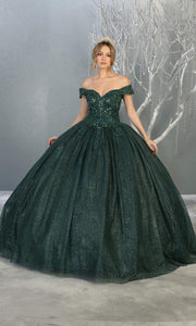 Mayqueen LK151 hunter green quinceanera off shoulder sequin ballgown. This green shiny ball gown is perfect for engagement dress, wedding reception, indowestern party gown, sweet 16, debut, sweet 15, sweet 18. Plus sizes available for ballgowns.jpg