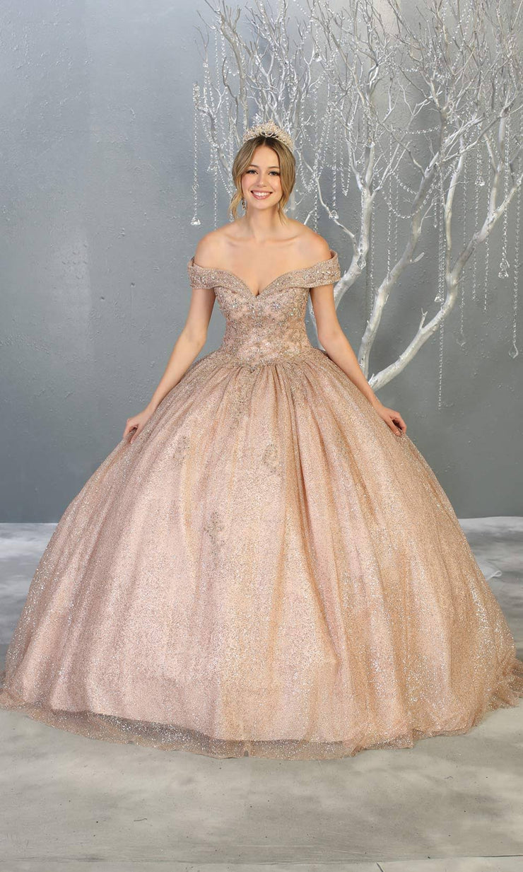 Mayqueen LK151 rose gold quinceanera off shoulder sequin ballgown. This rose gold shiny ball gown is perfect for engagement dress, wedding reception, indowestern party gown, sweet 16, debut, sweet 15, sweet 18. Plus sizes available for gold ballgowns.jpg