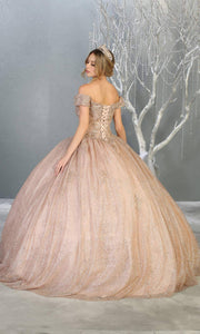 Mayqueen LK151 rose gold quinceanera off shoulder sequin ballgown. This rose gold shiny ball gown is perfect for engagement dress, wedding reception, indowestern party gown, sweet 16, debut, sweet 15, sweet 18. Plus sizes available for gold ballgowns-.jpg