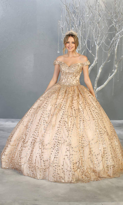 Mayqueen LK153 champagne quinceanera off shoulder sequin ballgown. This gold shiny ball gown is perfect for engagement dress, wedding reception, indowestern party gown, sweet 16, debut, sweet 15, sweet 18. Plus sizes available for gold ballgowns.jpg