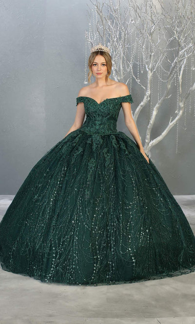 Mayqueen LK153 hunter green quinceanera off shoulder sequin ballgown. This green shiny ball gown is perfect for engagement dress, wedding reception, indowestern party gown, sweet 16, debut, sweet 15, sweet 18. Plus sizes available for green ballgowns.jpg
