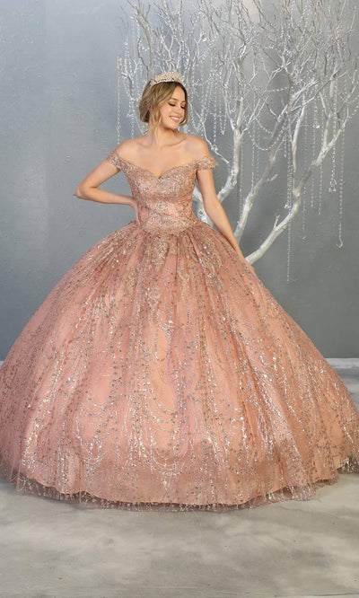 Mayqueen LK153 mauve pink quinceanera off shoulder sequin ballgown.This dusty rose shiny ball gown is perfect for engagement dress, wedding reception, indowestern party gown, sweet 16, debut, sweet 15, sweet 18.Plus sizes available for mauve ballgowns.jpg