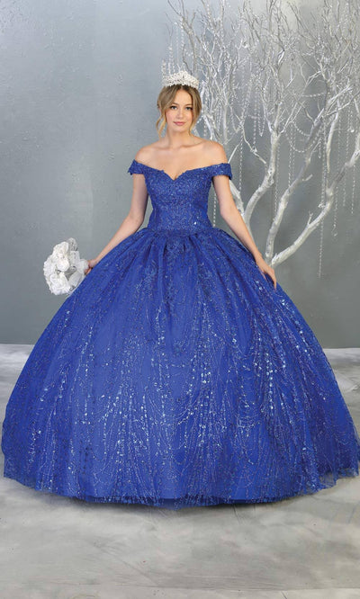 Mayqueen LK153 royal blue quinceanera off shoulder sequin ballgown. This blue shiny ball gown is perfect for engagement dress, wedding reception, indowestern party gown, sweet 16, debut, sweet 15, sweet 18. Plus sizes available for blue ballgowns.jpg