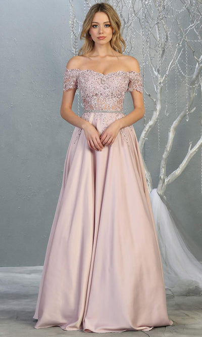 Mayqueen MQ1639 long mauve off shoulder flowy dress. This a-line dress with lace top & removable rhinestone belt is perfect as prom dress, bridesmaid dresses, wedding guest dress, gala, dusty rose formal evening party dress. Plus sizes available.jpg