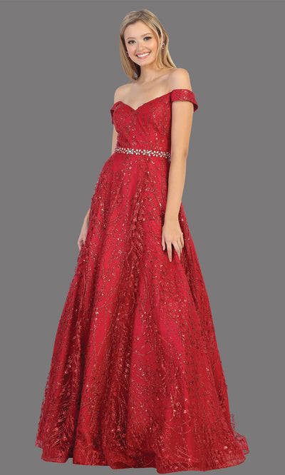 Mayqueen MQ1703 long glittery off shoulder burgundy red flowy dress. This dark red sequin evening dress is perfect as an engagement dress, wedding reception dress, formal wedding guest dress, indowestern party dress. Plus sizes are available