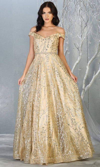 Mayqueen MQ1703 long glittery off shoulder champagne flowy dress. This light gold sequin evening dress is perfect as an engagement dress, wedding reception dress, formal wedding guest dress, indowestern party dress. Plus sizes are available.jpg