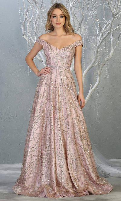 Mayqueen MQ1703 long glittery off shoulder mauve flowy dress. This light pink sequin evening dress is perfect as an engagement dress, wedding reception dress, formal wedding guest dress, indowestern party dress. Plus sizes are available.jpg