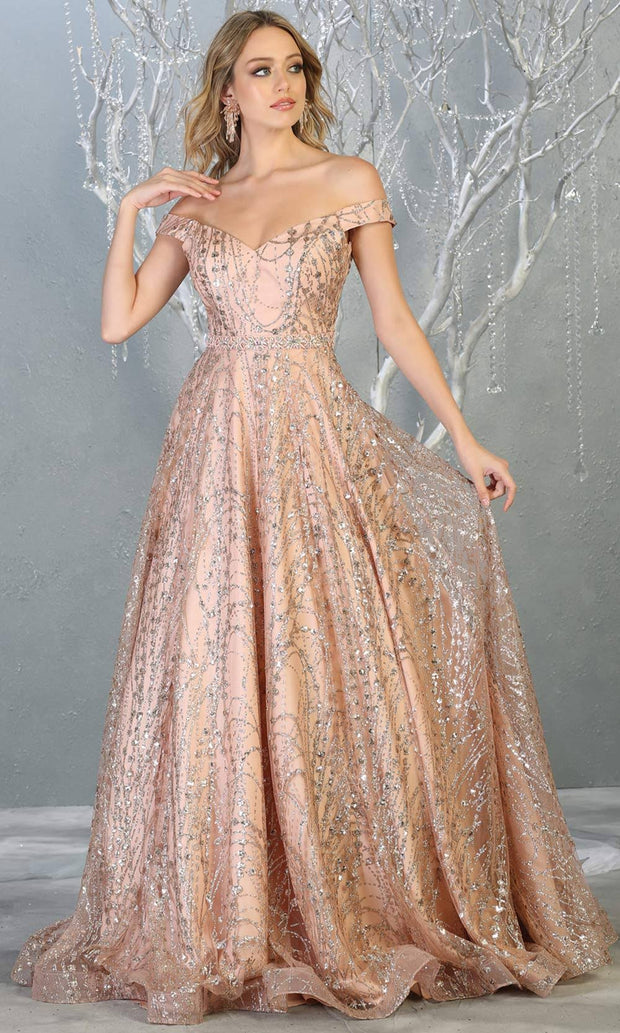 Mayqueen MQ1703 long glittery off shoulder rose gold flowy dress. This rose gold sequin evening dress is perfect as an engagement dress, wedding reception dress, formal wedding guest dress, indowestern party dress. Plus sizes are available.jpg