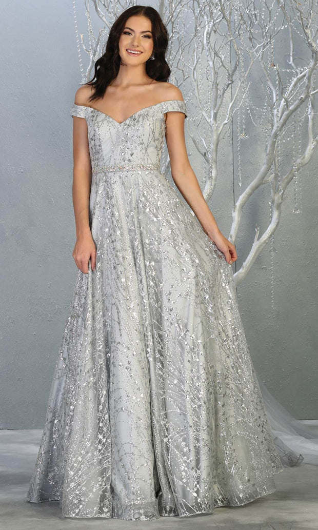 Mayqueen MQ1703 long glittery off shoulder silver grey flowy dress. This light gray sequin evening dress is perfect as an engagement dress, wedding reception dress, formal wedding guest dress, indowestern party dress. Plus sizes are available.jpg