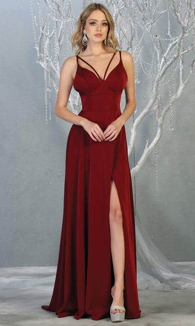 Mayqueen MQ1704 long burgundy red flowy satin dress with high slit and straps. This dark red dress is perfect for bridesmaid dresses, simple wedding guest dress, prom dress, gala, black tie wedding. Pluss sizes are available, evening party dress.jpg