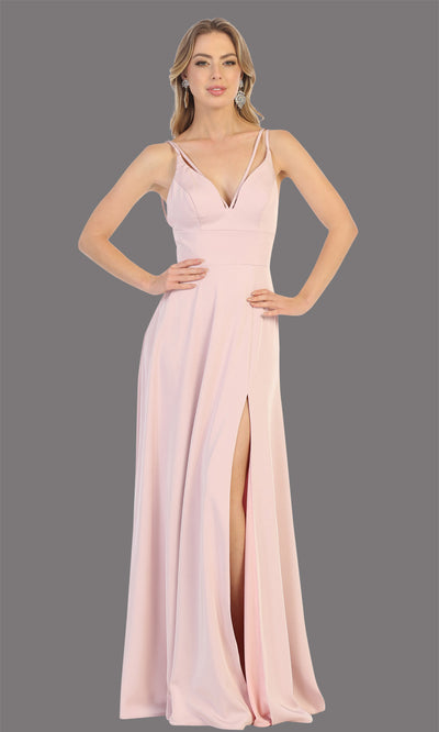 Mayqueen MQ1704 long dusty rose flowy satin dress with high slit and straps. This light pink dress is perfect for bridesmaid dresses, simple wedding guest dress, prom dress, gala, black tie wedding. Plus sizes are available, evening party dress