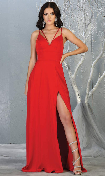 Mayqueen MQ1704 long red flowy satin dress with high slit and straps. This red dress is perfect for bridesmaid dresses, simple wedding guest dress, prom dress, gala, black tie wedding. Plus sizes are available, evening party dress.jpg