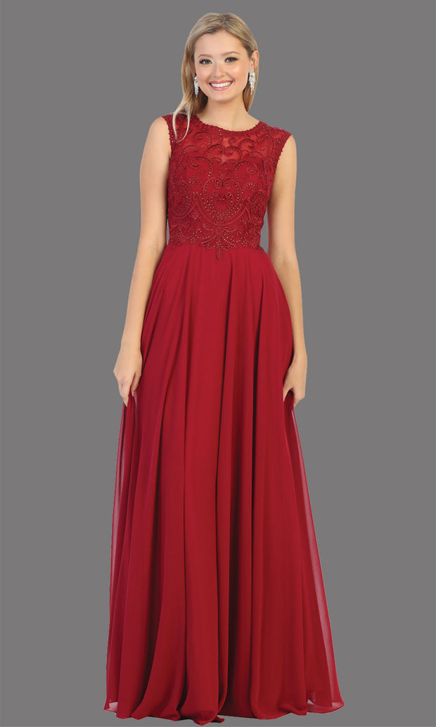 Mayqueen MQ1707 long burgundy red flowy dress with high neck & high back. This dark red dress is perfect for bridesmaid dresses, simple wedding guest dress, prom dress, gala, black tie wedding. Plus sizes are available, evening party dress.jpg