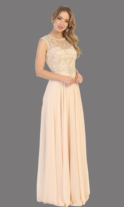 Mayqueen MQ1707 long champagne flowy dress with high neck & high back. This light gold dress is perfect for bridesmaid dresses, simple wedding guest dress, prom dress, gala, black tie wedding. Plus sizes are available, evening party dress.jpg