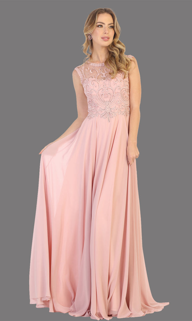 Mayqueen MQ1707 long dusty rose flowy dress with high neck & high back. This light pink dress is perfect for bridesmaid dresses, simple wedding guest dress, prom dress, gala, black tie wedding. Plus sizes are available, evening party dress.jpg