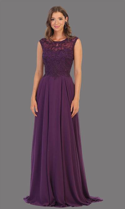 Mayqueen MQ1707 long eggplant flowy dress with high neck & high back. This dark purple dress is perfect for bridesmaid dresses, simple wedding guest dress, prom dress, gala, black tie wedding. Plus sizes are available, evening party dress.jpg