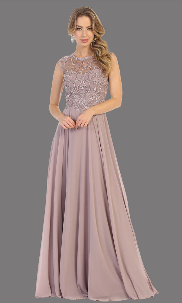 Mayqueen MQ1707 long mauve flowy dress with high neck & high back. This dusty rose dress is perfect for bridesmaid dresses, simple wedding guest dress, prom dress, gala, black tie wedding. Plus sizes are available, evening party dress.jpg