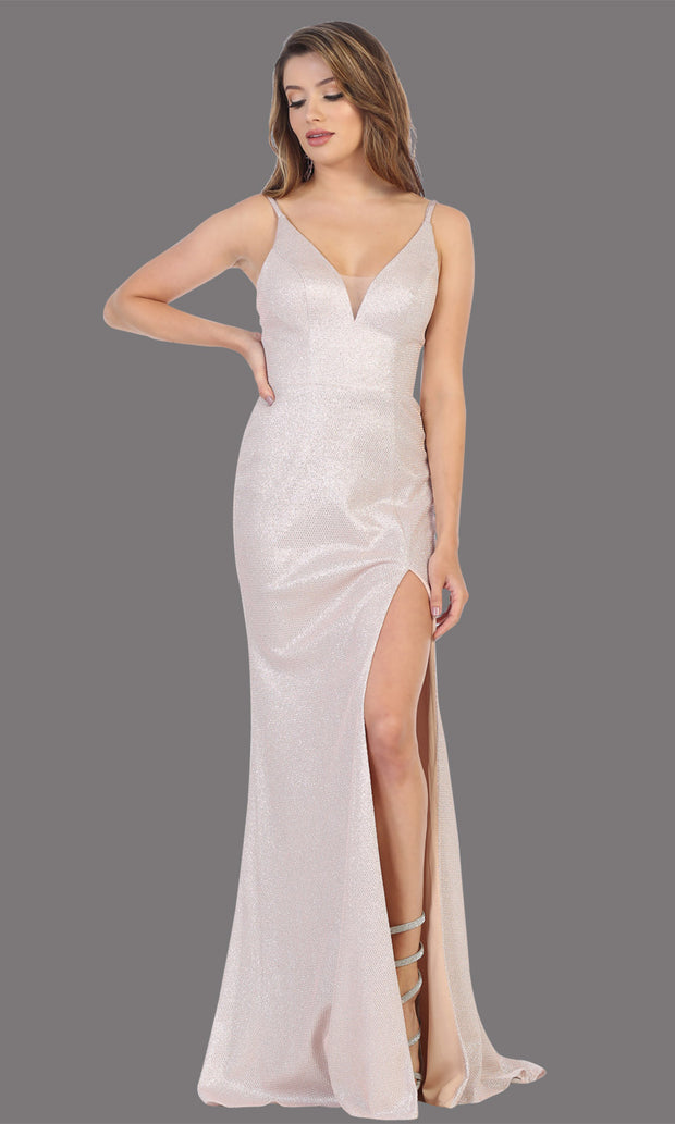 Mayqueen MQ1709 long blush pink flowy satin dress with high slit and straps. This light pink dress is perfect for bridesmaid dresses, simple wedding guest dress, prom dress, gala, black tie wedding. Plus sizes are available, evening party dress