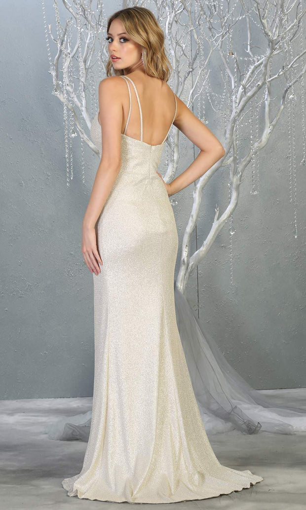 Mayqueen MQ1709 long champagne gold flowy satin dress with high slit and straps. This light gold dress is perfect for bridesmaid dresses, simple wedding guest dress, prom dress, gala, black tie wedding. Plus sizes are available, evening party dress-b.jpg