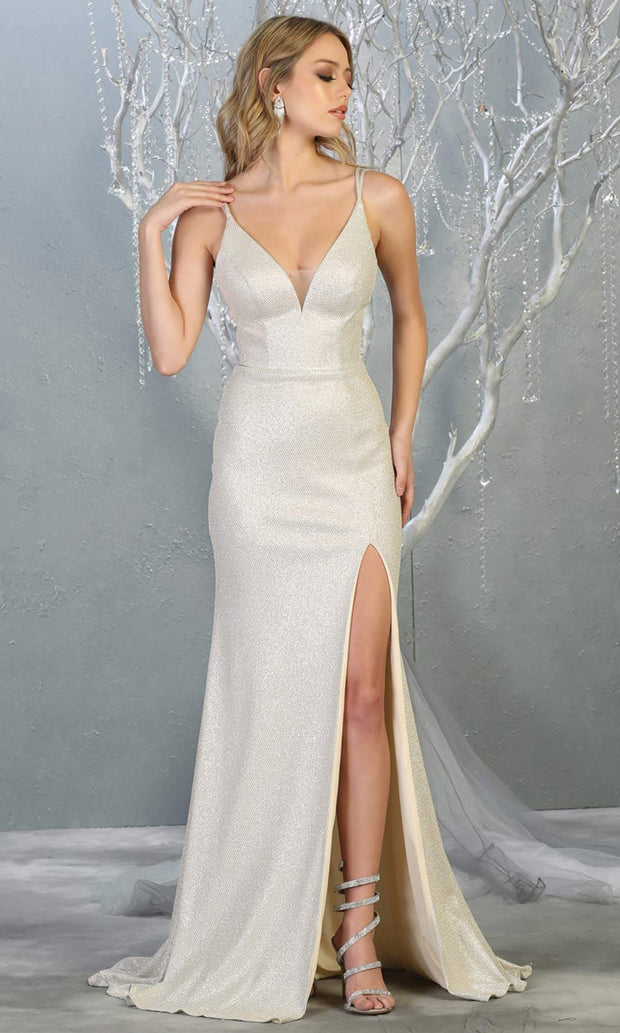 Mayqueen MQ1709 long champagne gold flowy satin dress with high slit and straps. This light gold dress is perfect for bridesmaid dresses, simple wedding guest dress, prom dress, gala, black tie wedding. Plus sizes are available, evening party dress.jpg