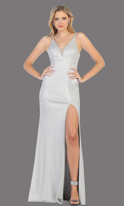 Mayqueen MQ1709 long silver flowy satin dress with high slit and straps. This grey pink dress is perfect for bridesmaid dresses, simple wedding guest dress, prom dress, gala, black tie wedding. Plus sizes are available, evening party dress