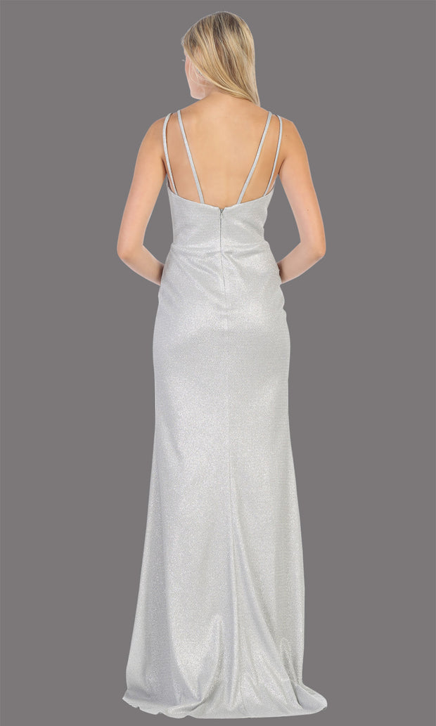 Mayqueen MQ1709 long silver flowy satin dress with high slit and straps. This grey pink dress is perfect for bridesmaid dresses, simple wedding guest dress, prom dress, gala, black tie wedding. Plus sizes are available, evening party dress-back