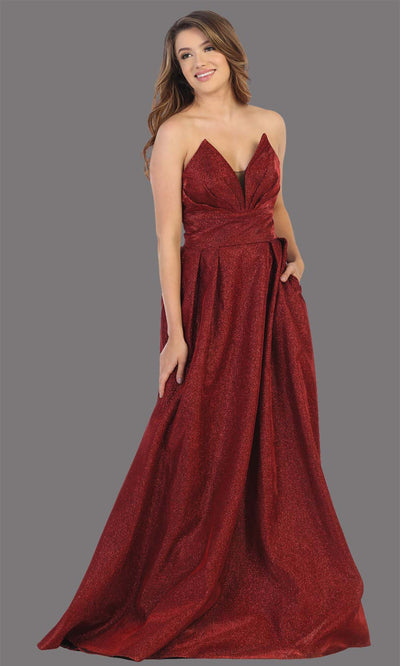 Mayqueen MQ1710 long burgundy metallic strapless flowy dress with pockets.This dark red a-line semi ballgown is perfect for prom, engagement dress, wedding reception dress, quinceanera, debut, sweet 16, formal wedding guest. Plus sizes are available